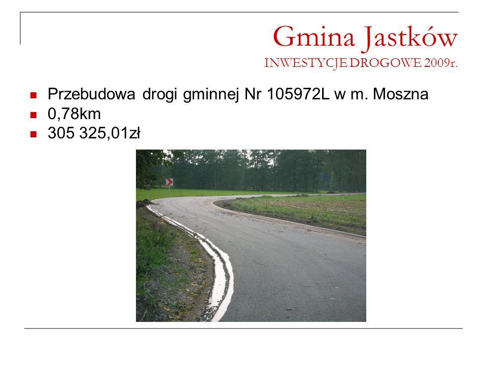 Gmina Jastków INWESTYCJE DROGOWE 2009r. Przebudowa drogi gminnej Nr 105972L w m. Moszna 0,78km 305 325,01zł