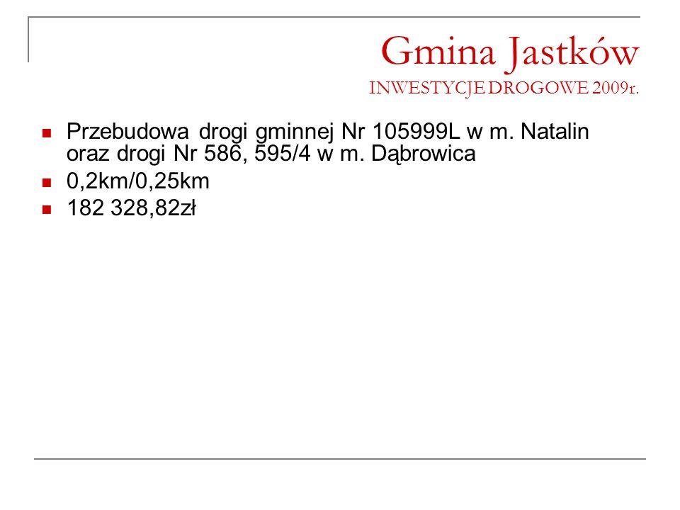 Gmina Jastków INWESTYCJE DROGOWE 2009r. Przebudowa drogi gminnej Nr 105999L w m. Natalin oraz drogi Nr 586, 595/4 w m. Dąbrowica 0,2km/0,25km 182 328,