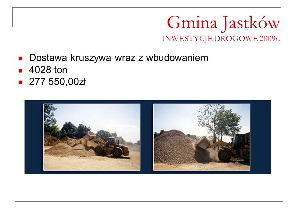 Gmina Jastków INWESTYCJE DROGOWE 2009r. Dostawa kruszywa wraz z wbudowaniem 4028 ton 277 550,00zł