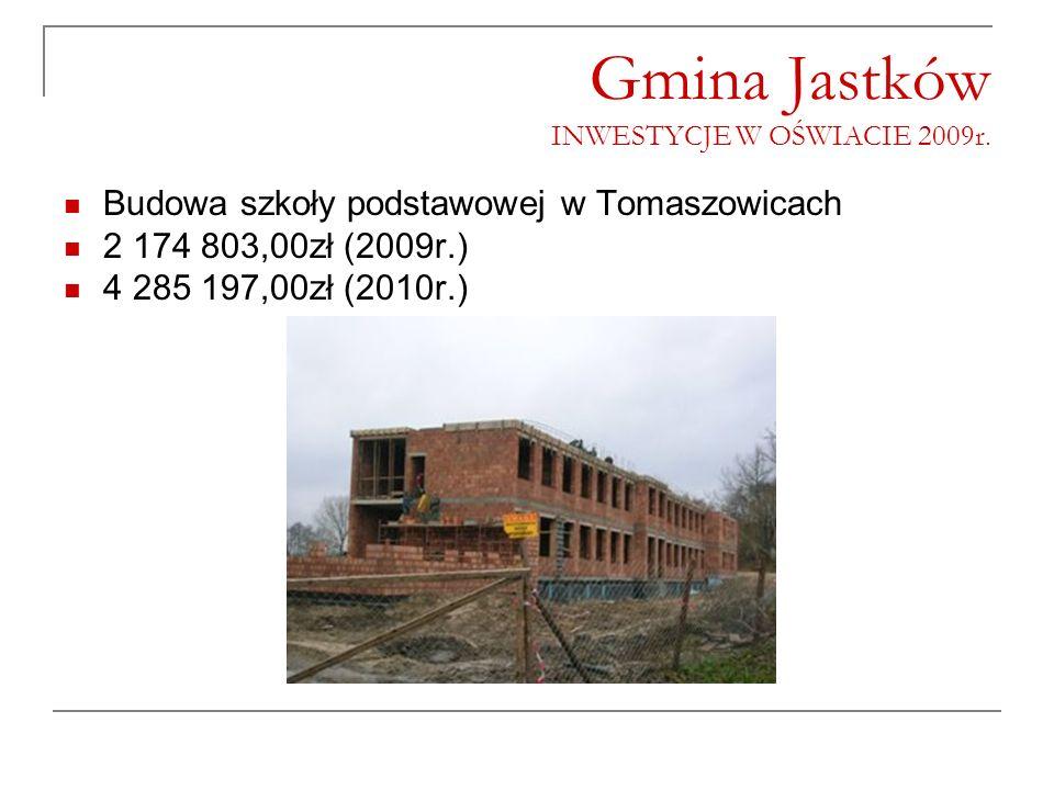 Gmina Jastków INWESTYCJE W OŚWIACIE 2009r. Budowa szkoły podstawowej w Tomaszowicach 2 174 803,00zł (2009r.) 4 285 197,00zł (2010r.)