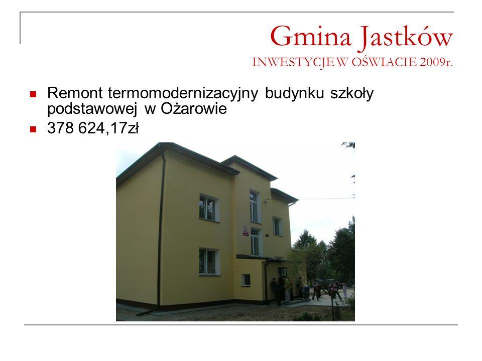 Gmina Jastków INWESTYCJE W OŚWIACIE 2009r. Remont termomodernizacyjny budynku szkoły podstawowej w Ożarowie 378 624,17zł