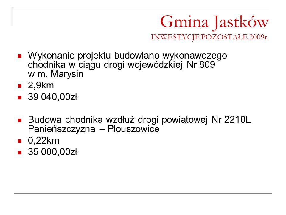 Gmina Jastków INWESTYCJE POZOSTAŁE 2009r. Wykonanie projektu budowlano-wykonawczego chodnika w ciągu drogi wojewódzkiej Nr 809 w m. Marysin 2,9km 39 0
