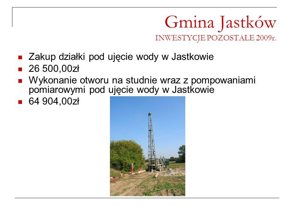 Gmina Jastków INWESTYCJE POZOSTAŁE 2009r. Zakup działki pod ujęcie wody w Jastkowie 26 500,00zł Wykonanie otworu na studnie wraz z pompowaniami pomiar