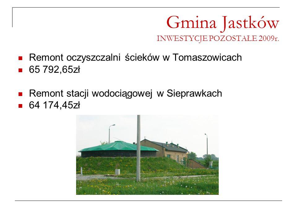Gmina Jastków INWESTYCJE POZOSTAŁE 2009r. Remont oczyszczalni ścieków w Tomaszowicach 65 792,65zł Remont stacji wodociągowej w Sieprawkach 64 174,45zł