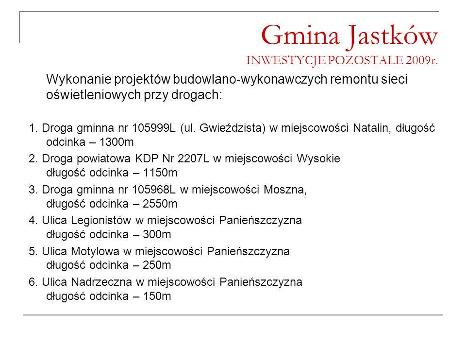 Gmina Jastków INWESTYCJE POZOSTAŁE 2009r. Wykonanie projektów budowlano-wykonawczych remontu sieci oświetleniowych przy drogach: 1. Droga gminna nr 10