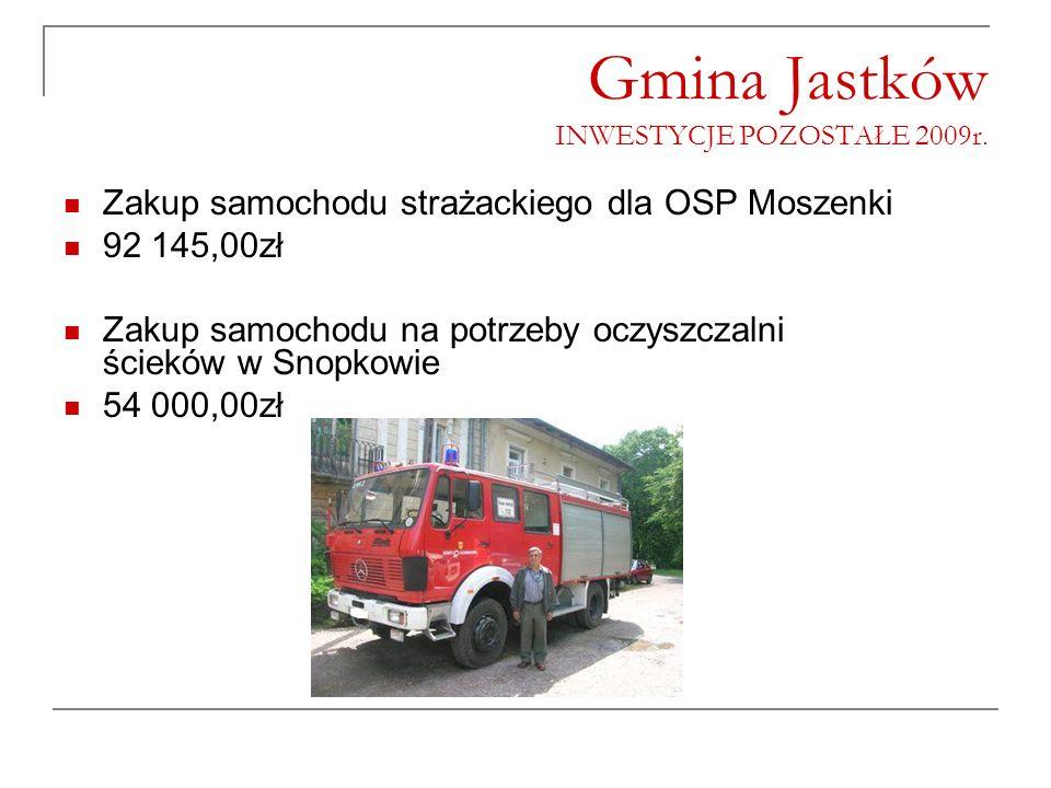 Gmina Jastków INWESTYCJE POZOSTAŁE 2009r. Zakup samochodu strażackiego dla OSP Moszenki 92 145,00zł Zakup samochodu na potrzeby oczyszczalni ścieków w