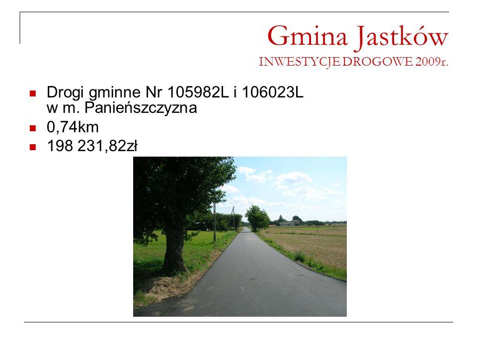 Gmina Jastków INWESTYCJE DROGOWE 2009r. Drogi gminne Nr 105982L i 106023L w m. Panieńszczyzna 0,74km 198 231,82zł
