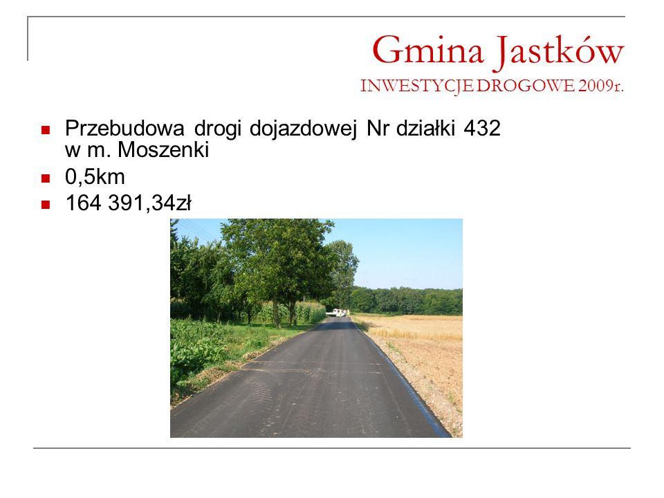 Gmina Jastków INWESTYCJE DROGOWE 2009r. Przebudowa drogi dojazdowej Nr działki 432 w m. Moszenki 0,5km 164 391,34zł