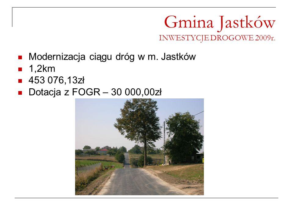 Gmina Jastków INWESTYCJE DROGOWE 2009r. Modernizacja ciągu dróg w m. Jastków 1,2km 453 076,13zł Dotacja z FOGR – 30 000,00zł
