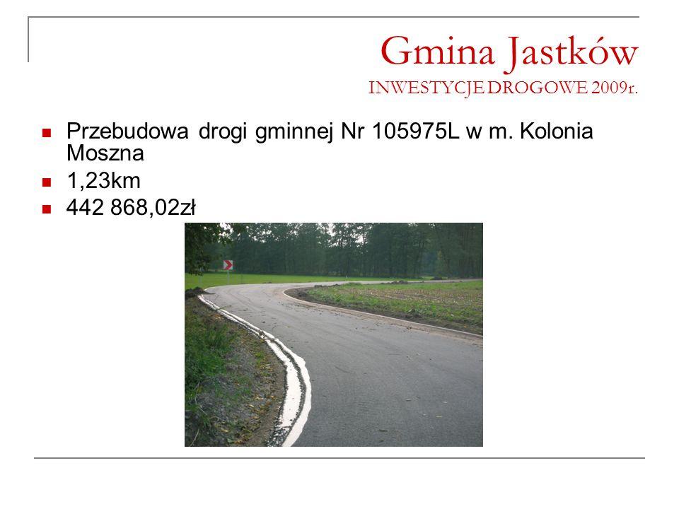 Gmina Jastków INWESTYCJE DROGOWE 2009r. Przebudowa drogi gminnej Nr 105975L w m. Kolonia Moszna 1,23km 442 868,02zł