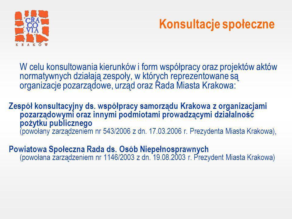 Konsultacje społeczne W celu konsultowania kierunków i form współpracy oraz projektów aktów normatywnych działają zespoły, w których reprezentowane są organizacje pozarządowe, urząd oraz Rada Miasta Krakowa: Zespół konsultacyjny ds.