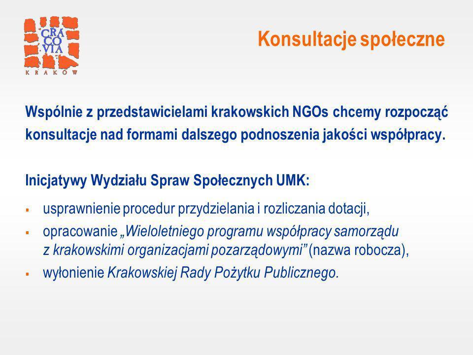 Konsultacje społeczne Wspólnie z przedstawicielami krakowskich NGOs chcemy rozpocząć konsultacje nad formami dalszego podnoszenia jakości współpracy.