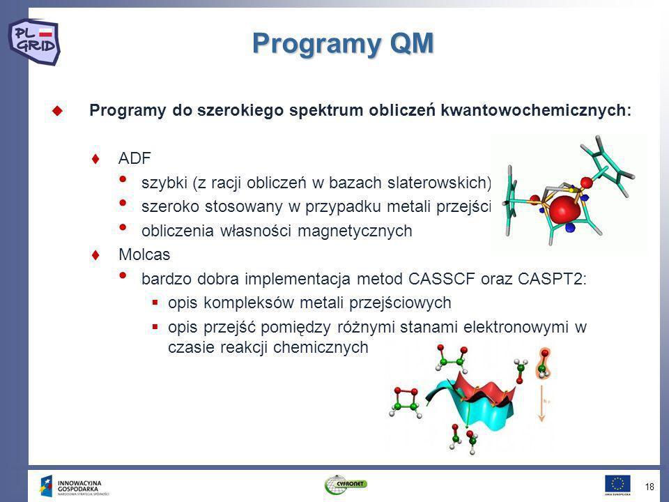 Programy QM Programy do szerokiego spektrum obliczeń kwantowochemicznych: ADF szybki (z racji obliczeń w bazach slaterowskich) szeroko stosowany w prz