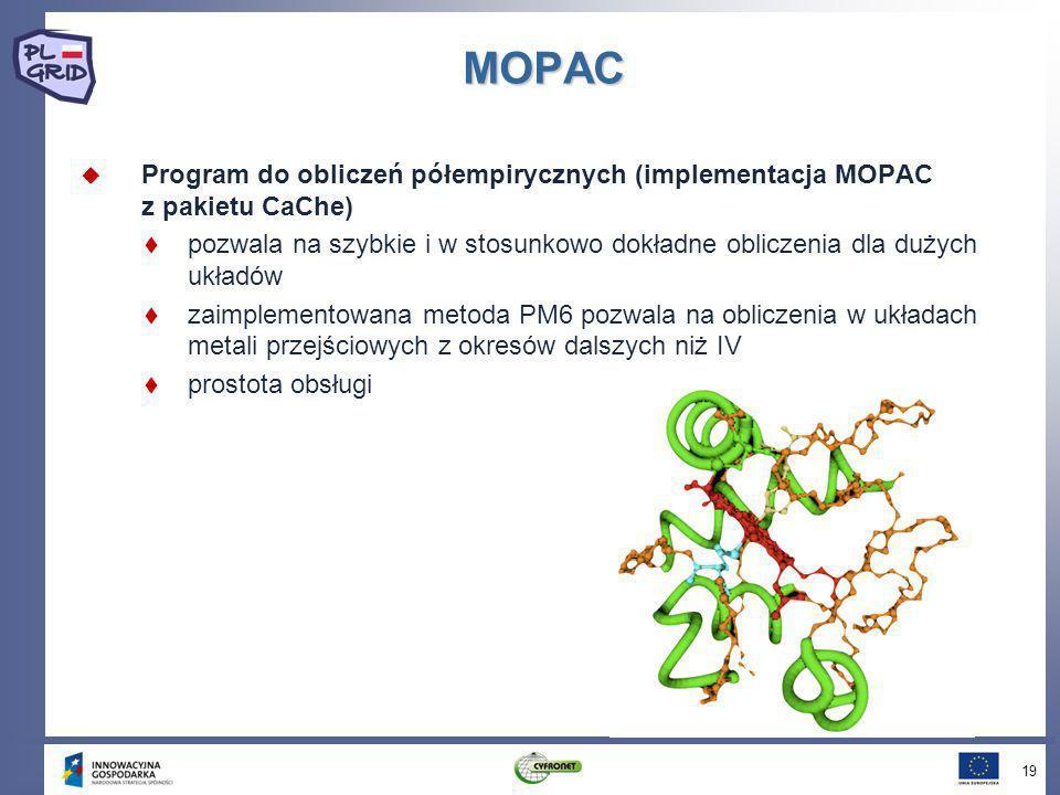 MOPAC Program do obliczeń półempirycznych (implementacja MOPAC z pakietu CaChe) pozwala na szybkie i w stosunkowo dokładne obliczenia dla dużych układ