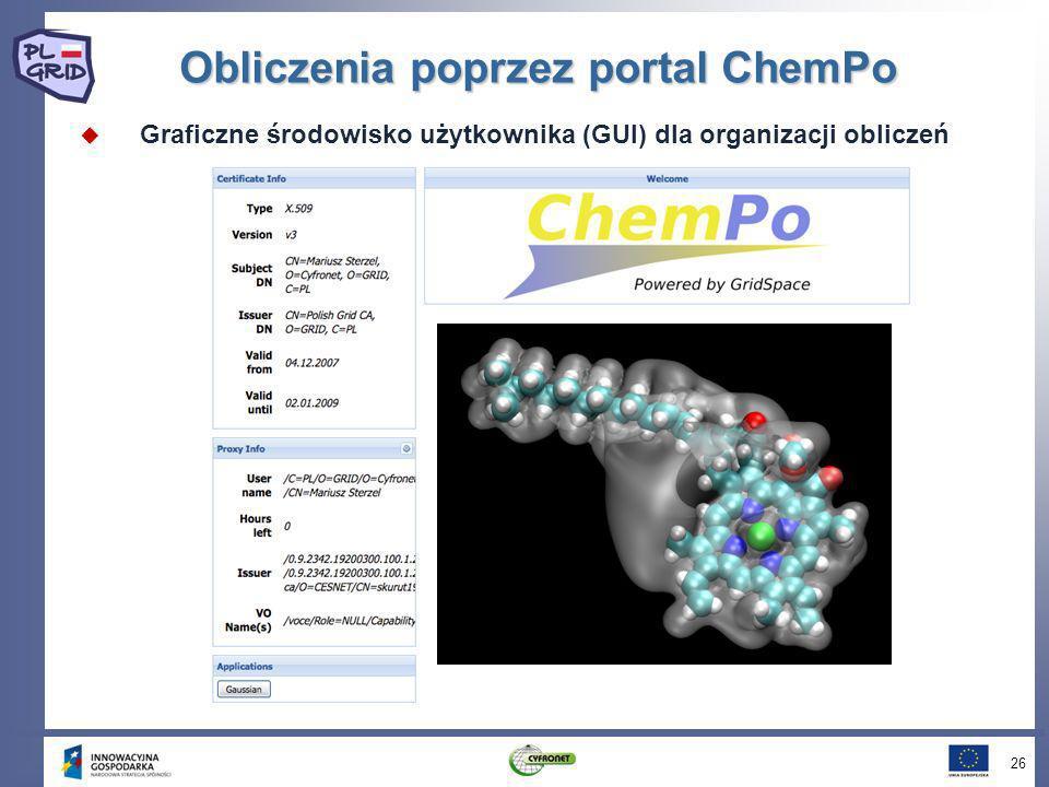 Obliczenia poprzez portal ChemPo Graficzne środowisko użytkownika (GUI) dla organizacji obliczeń 26