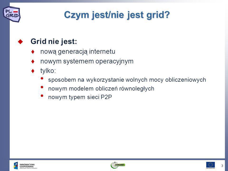Czym jest/nie jest grid? Grid nie jest: nową generacją internetu nowym systemem operacyjnym tylko: sposobem na wykorzystanie wolnych mocy obliczeniowy