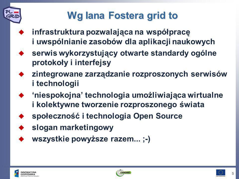 Wg Iana Fostera grid to infrastruktura pozwalająca na współpracę i uwspólnianie zasobów dla aplikacji naukowych serwis wykorzystujący otwarte standard