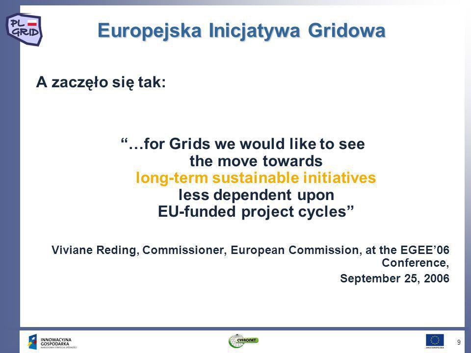 Europejska Inicjatywa Gridowa A zaczęło się tak: …for Grids we would like to see the move towards long-term sustainable initiatives less dependent upo