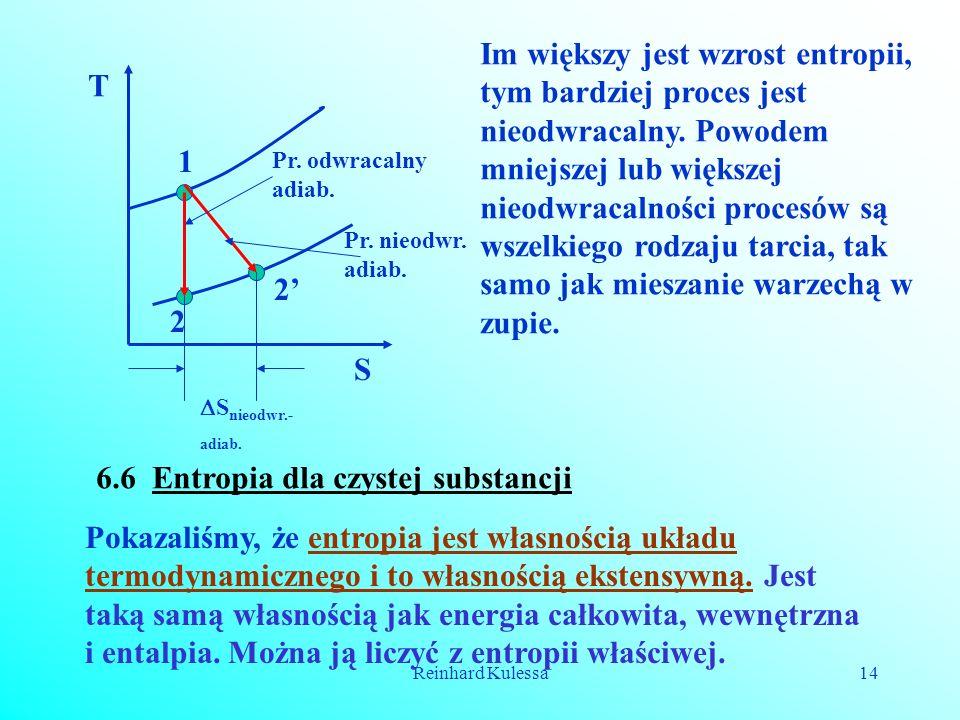 Reinhard Kulessa14 1 2 2 T S Pr. odwracalny adiab. Pr. nieodwr. adiab. S nieodwr.- adiab. Im większy jest wzrost entropii, tym bardziej proces jest ni