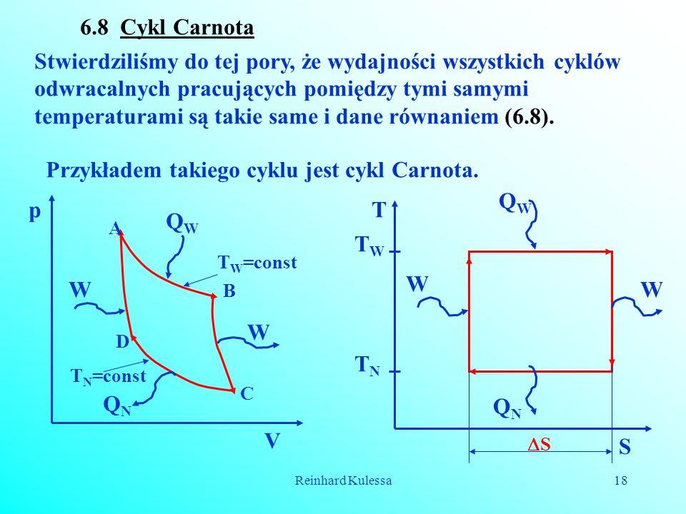 Reinhard Kulessa18 6.8 Cykl Carnota Stwierdziliśmy do tej pory, że wydajności wszystkich cyklów odwracalnych pracujących pomiędzy tymi samymi temperat