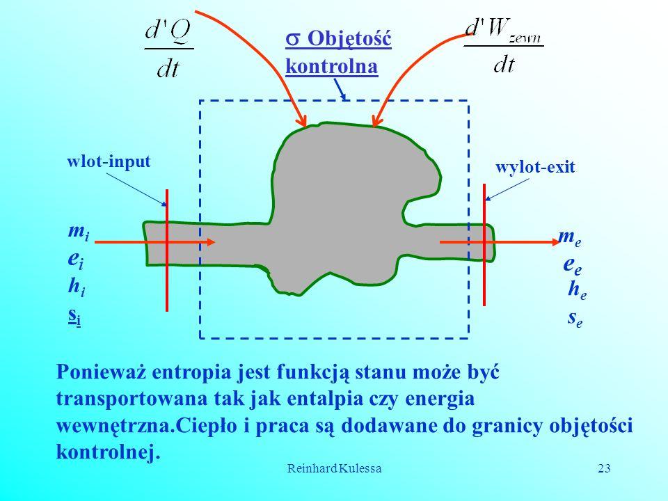 Reinhard Kulessa23 Objętość kontrolna eiei e mimi hihi sisi meme hehe sese wlot-input wylot-exit Ponieważ entropia jest funkcją stanu może być transpo