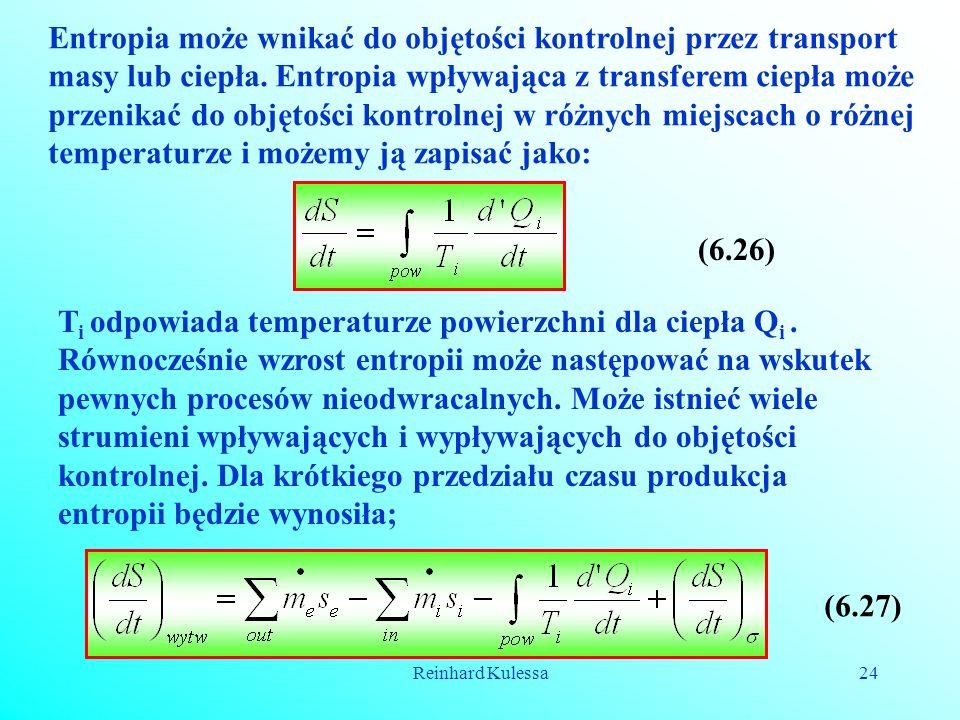 Reinhard Kulessa24 Entropia może wnikać do objętości kontrolnej przez transport masy lub ciepła. Entropia wpływająca z transferem ciepła może przenika