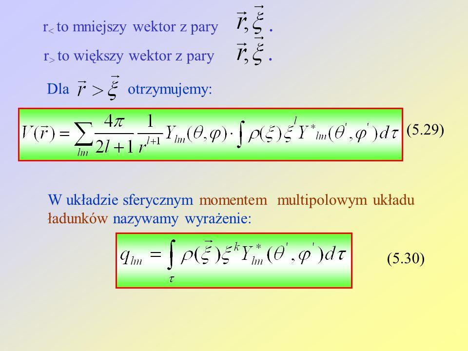 r < to mniejszy wektor z pary. r > to większy wektor z pary. Dla otrzymujemy: (5.29) W układzie sferycznym momentem multipolowym układu ładunków nazyw