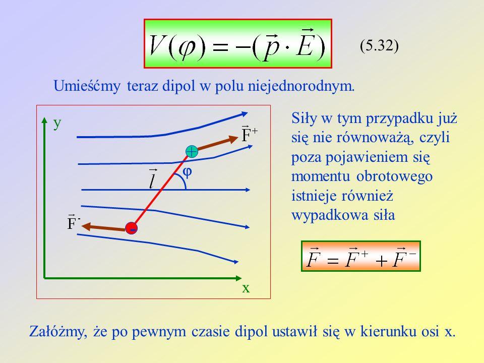 (5.32) Umieśćmy teraz dipol w polu niejednorodnym. Siły w tym przypadku już się nie równoważą, czyli poza pojawieniem się momentu obrotowego istnieje