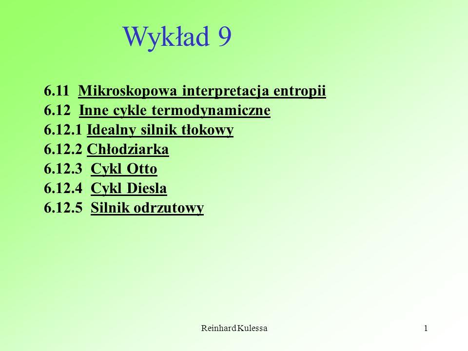 Reinhard Kulessa1 6.11 Mikroskopowa interpretacja entropii 6.12 Inne cykle termodynamiczne 6.12.1 Idealny silnik tłokowy 6.12.2 Chłodziarka 6.12.3 Cyk