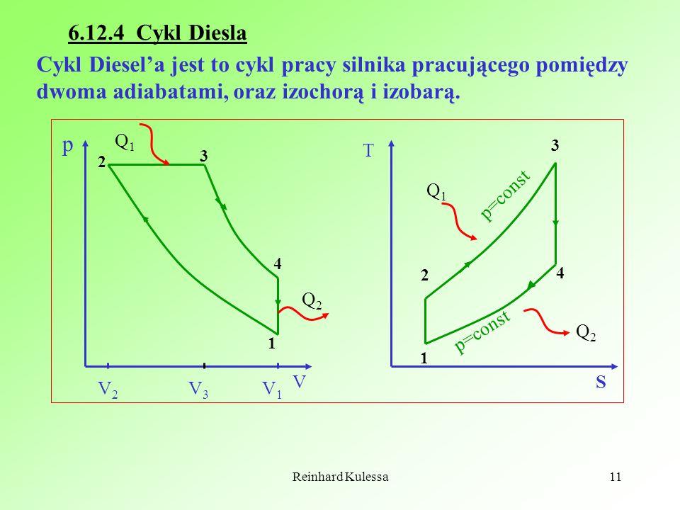 Reinhard Kulessa11 6.12.4 Cykl Diesla Cykl Diesela jest to cykl pracy silnika pracującego pomiędzy dwoma adiabatami, oraz izochorą i izobarą. 1 2 3 4