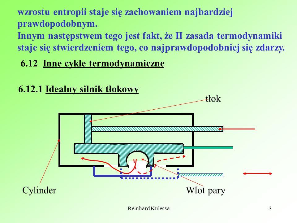 Reinhard Kulessa4 Cykl maszyny parowej wygląda następująco: V0V0 V1V1 V2V2 p0p0 p1p1 1 2 3 4 5 p V Kolejne etapy zamkniętego cyklu są następujące: 1 Tłok spoczywa, para dostaje się z kotła do cylindra, wzrasta ciśnienie.