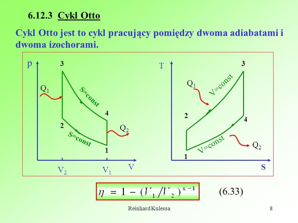 Reinhard Kulessa8 6.12.3 Cykl Otto Cykl Otto jest to cykl pracujący pomiędzy dwoma adiabatami i dwoma izochorami. 1 2 3 4 p V Q1Q1 Q2Q2 S=const T S 1
