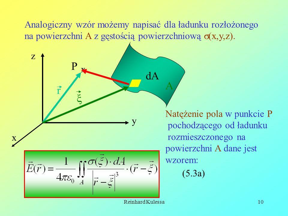 Reinhard Kulessa10 Analogiczny wzór możemy napisać dla ładunku rozłożonego na powierzchni A z gęstością powierzchniową (x,y,z). P x x y z A dA r Natęż