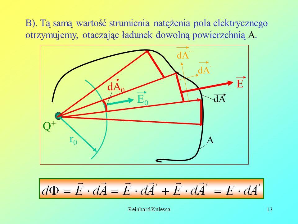 Reinhard Kulessa13 B). Tą samą wartość strumienia natężenia pola elektrycznego otrzymujemy, otaczając ładunek dowolną powierzchnią A. Q+Q+ r0r0 E0E0 E