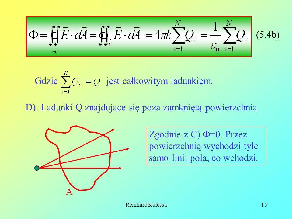 Reinhard Kulessa15 Gdzie jest całkowitym ładunkiem. D). Ładunki Q znajdujące się poza zamkniętą powierzchnią A Zgodnie z C) =0. Przez powierzchnię wyc
