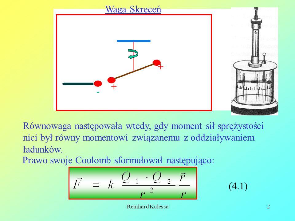 Reinhard Kulessa2 Waga Skręceń + + - Równowaga następowała wtedy, gdy moment sił sprężystości nici był równy momentowi związanemu z oddziaływaniem ład