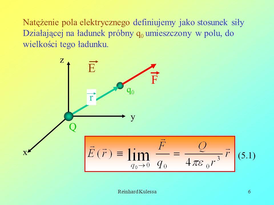 Reinhard Kulessa6 Natężenie pola elektrycznego definiujemy jako stosunek siły Działającej na ładunek próbny q 0 umieszczony w polu, do wielkości tego