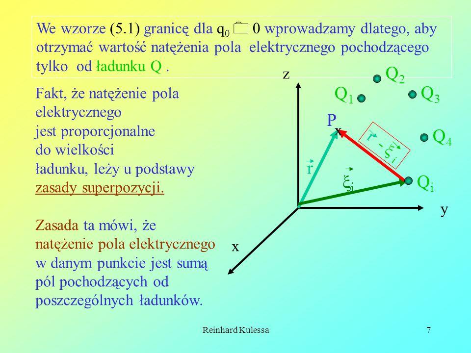 Reinhard Kulessa8 Dla układu ładunków punktowych otrzymujemy zgodnie z zasadą superpozycji następujące wyrażenie na natężenie pola elektrycznego: (5.2) Ładunek może być rozłożony nie tylko punktowo, ale również objętościowo lub powierzchniowo.