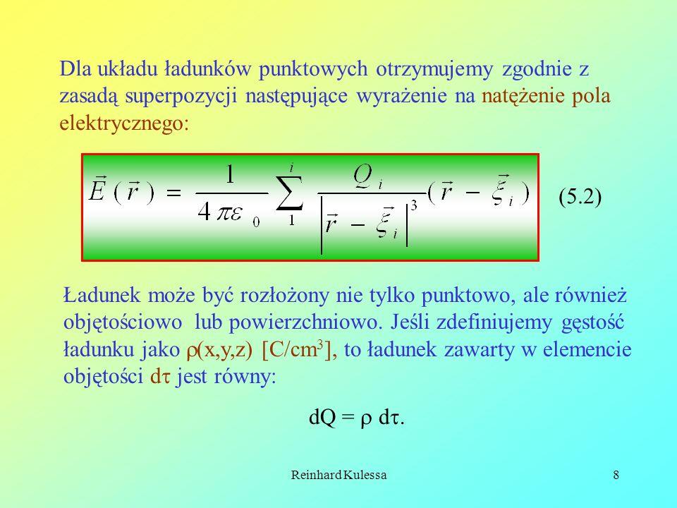 Reinhard Kulessa8 Dla układu ładunków punktowych otrzymujemy zgodnie z zasadą superpozycji następujące wyrażenie na natężenie pola elektrycznego: (5.2