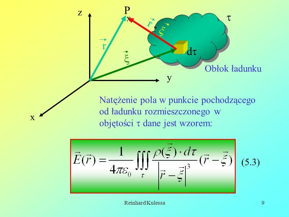 Reinhard Kulessa9 x y z x P d r r - Obłok ładunku Natężenie pola w punkcie pochodzącego od ładunku rozmieszczonego w objętości dane jest wzorem: (5.3)