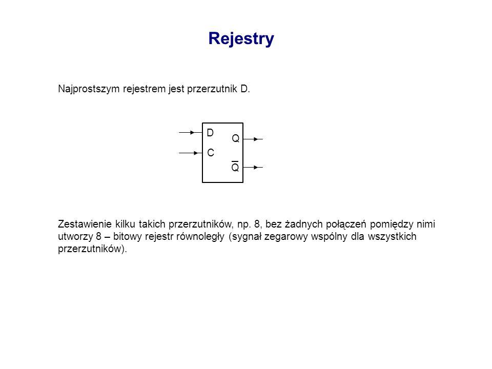Rejestry Najprostszym rejestrem jest przerzutnik D. Zestawienie kilku takich przerzutników, np. 8, bez żadnych połączeń pomiędzy nimi utworzy 8 – bito