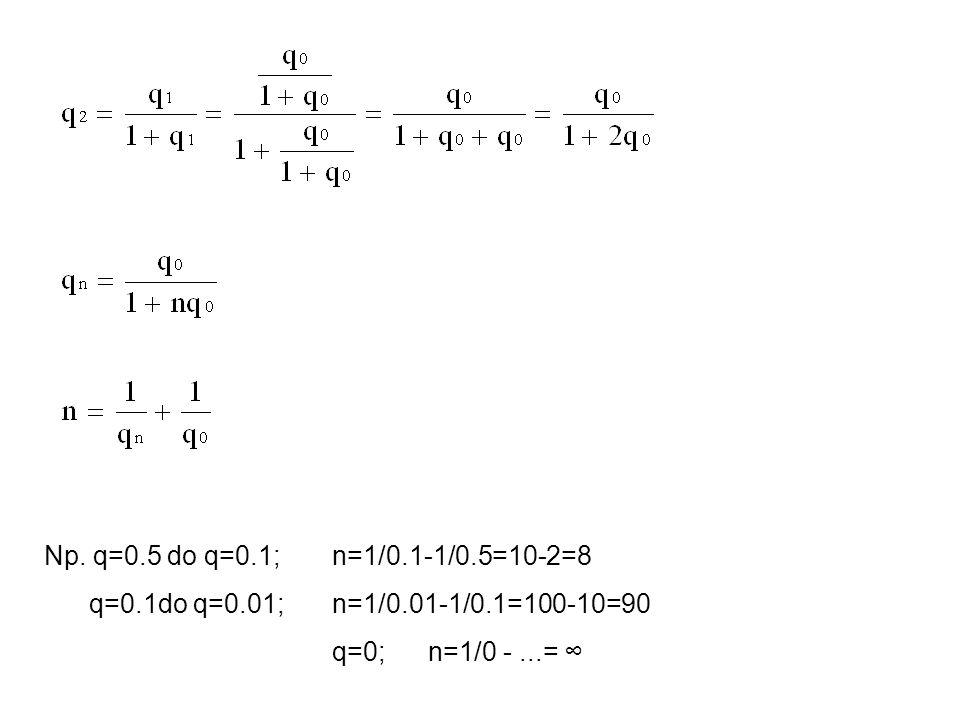 Np. q=0.5 do q=0.1; n=1/0.1-1/0.5=10-2=8 q=0.1do q=0.01; n=1/0.01-1/0.1=100-10=90 q=0;n=1/0 -...=
