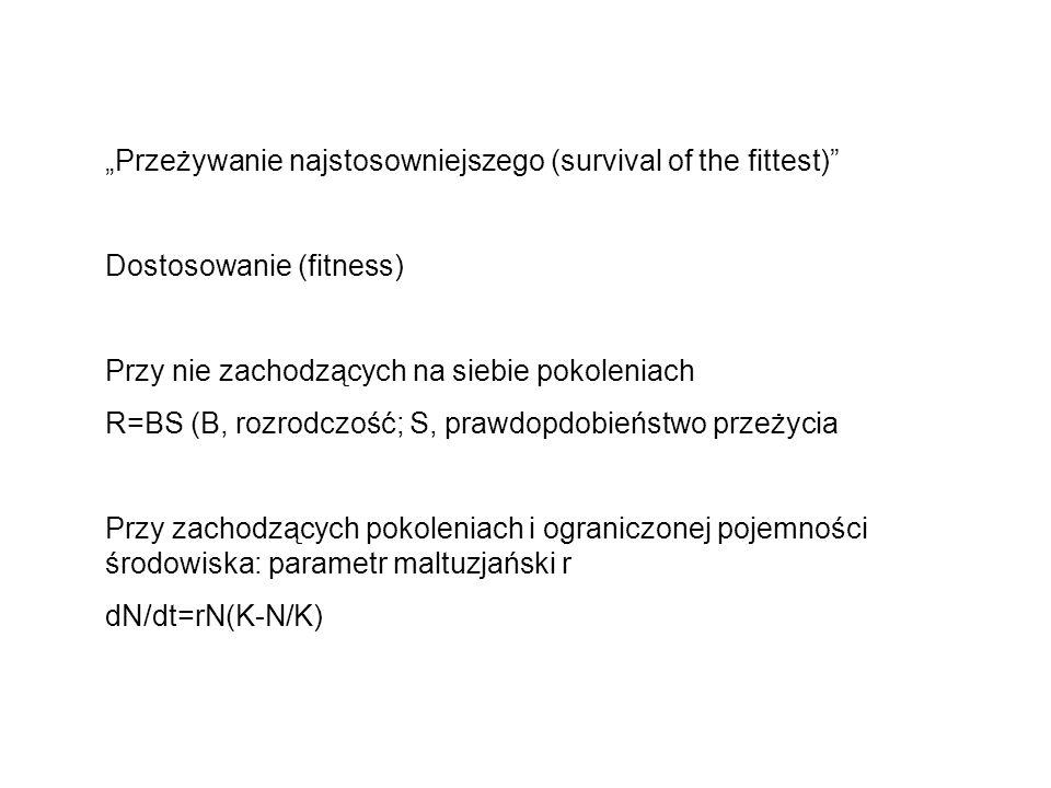 Przeżywanie najstosowniejszego (survival of the fittest) Dostosowanie (fitness) Przy nie zachodzących na siebie pokoleniach R=BS (B, rozrodczość; S, p