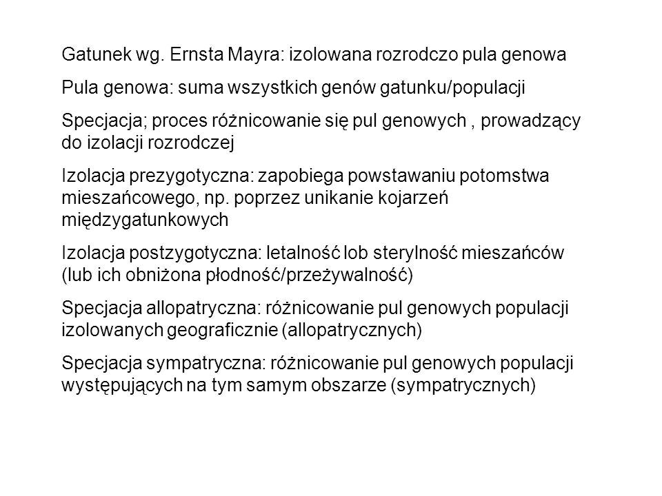 Gatunek wg. Ernsta Mayra: izolowana rozrodczo pula genowa Pula genowa: suma wszystkich genów gatunku/populacji Specjacja; proces różnicowanie się pul