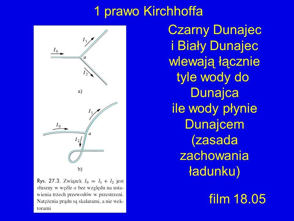 1 prawo Kirchhoffa Czarny Dunajec i Biały Dunajec wlewają łącznie tyle wody do Dunajca ile wody płynie Dunajcem (zasada zachowania ładunku) film 18.05