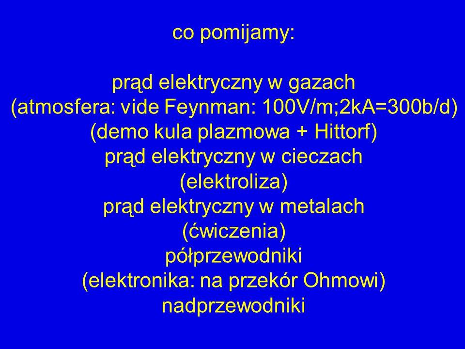 co pomijamy: prąd elektryczny w gazach (atmosfera: vide Feynman: 100V/m;2kA=300b/d) (demo kula plazmowa + Hittorf) prąd elektryczny w cieczach (elektr
