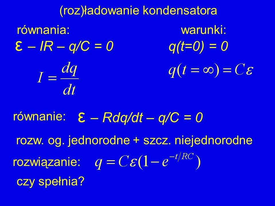 (roz)ładowanie kondensatora ε – IR – q/C = 0 ε – Rdq/dt – q/C = 0 równanie: rozwiązanie: równania:warunki: q(t=0) = 0 czy spełnia? rozw. og. jednorodn