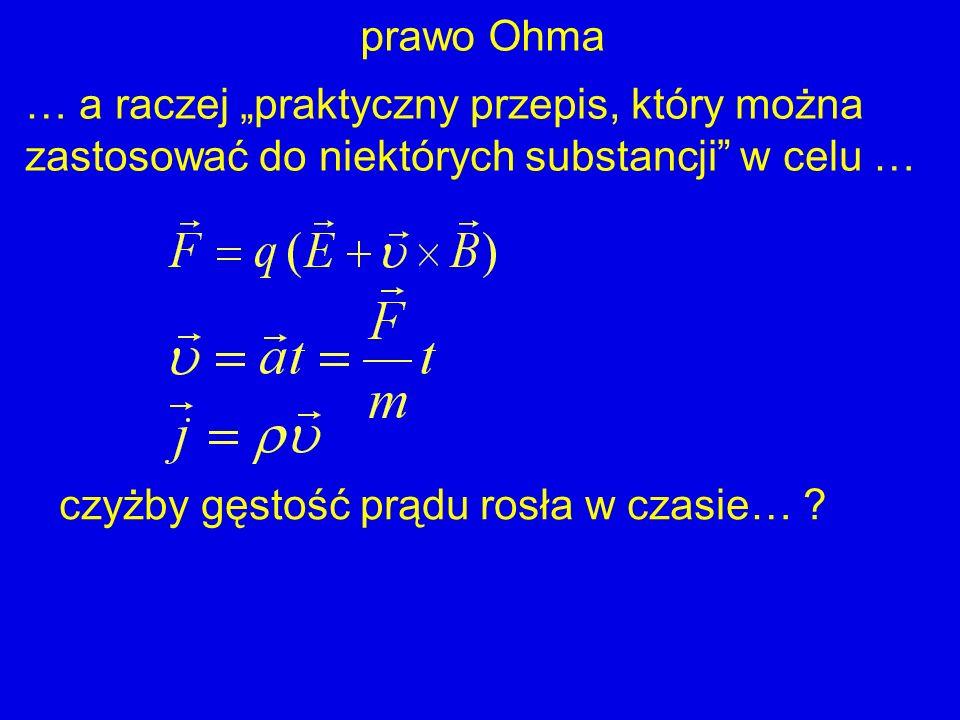 czyżby gęstość prądu rosła w czasie… ? prawo Ohma … a raczej praktyczny przepis, który można zastosować do niektórych substancji w celu …