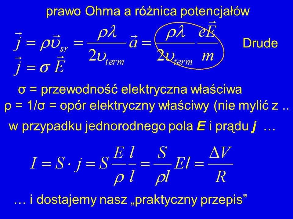 … i dostajemy nasz praktyczny przepis prawo Ohma a różnica potencjałów σ = przewodność elektryczna właściwa ρ = 1/σ = opór elektryczny właściwy (nie m