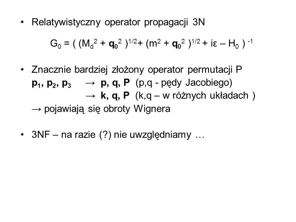 Relatywistyczny operator propagacji 3N G 0 = ( (M d 2 + q 0 2 ) 1/2 + (m 2 + q 0 2 ) 1/2 + iε – H 0 ) -1 Znacznie bardziej złożony operator permutacji